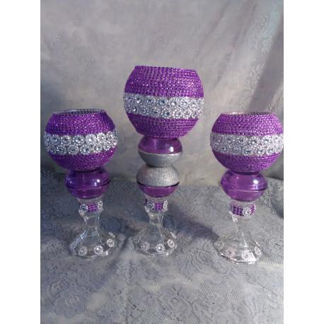 3pc. Purple & Silver Bling Candleholder Set