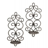 Iron Scrolled Wall Sconce Pair