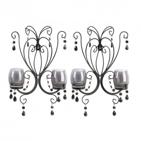 Set of 2 Midnight Elegance Black Candleholder Wall Sconces