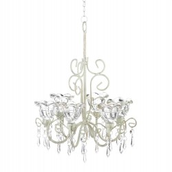 Distressed Ivory Six-Candle Chandelier
