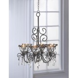 Smoked Glass Six-Candle Chandelier