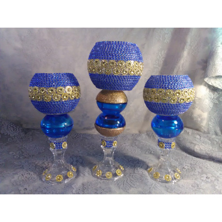 3pc. Blue & Gold Bling Candleholder Set
