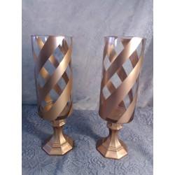 2pc. Gold Cheveron Candleholder Set