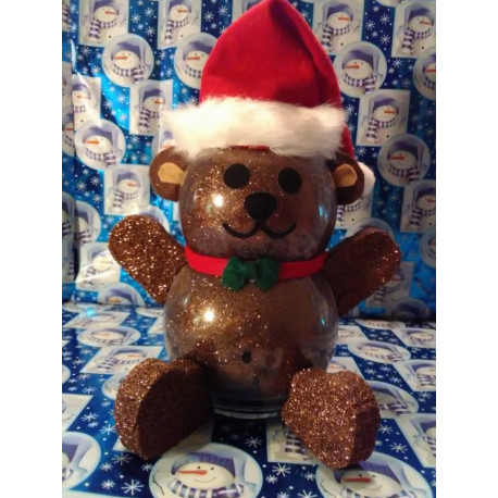 Handmade Glass Christmas Teddy Bear