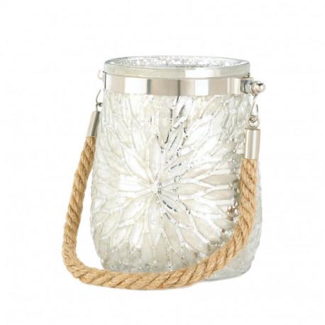 White Flower Design Glass Jar Candleholder