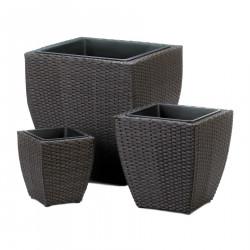 Dark Brown Wicker-Look Planter Set
