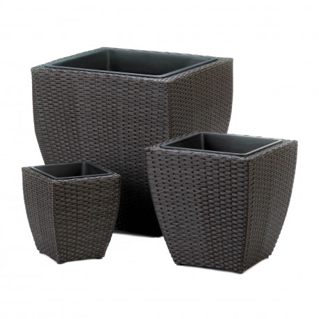 Dark Brown Wicker-Look Planter Set