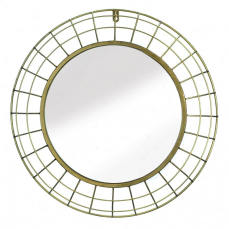 Dome-Style Frame Round Gold Wire Wall Mirror
