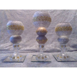 3pc. Silver & Gold Bling Candleholder Set