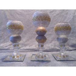 3pc. Silver & Gold Bling Candleholder Set