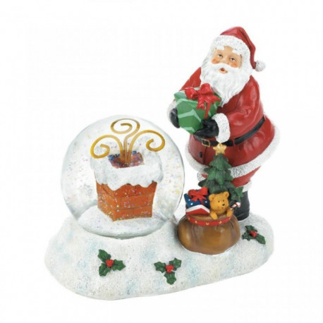 Color-Changing LED Santa and Chimney Snow Globe Figurine