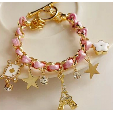 New fashion personality colored rope bracelet Eiffel Tower pentagram flower bracelet jewlery bangle
