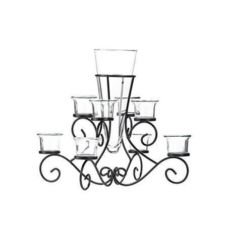 STUNNING SCROLLWORK CANDLE CENTERPIECE WITH VASE