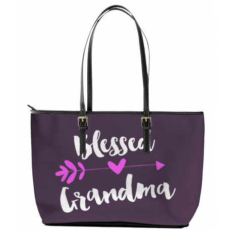Blessed Grandma Leather Tote Bag (Large)