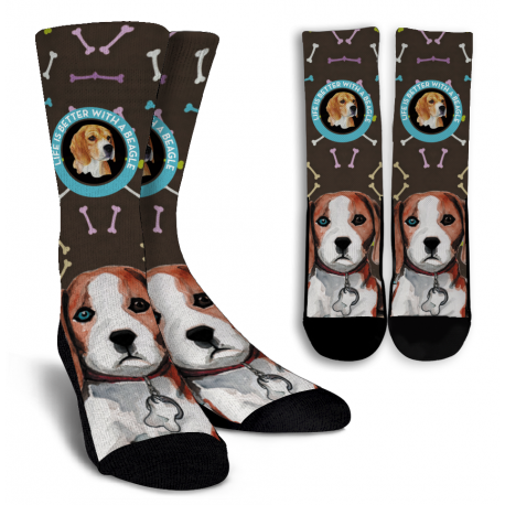 Beagle Crew Socks - White