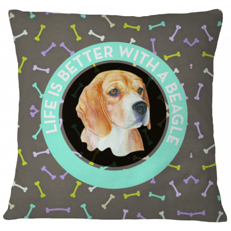 Beagle Pillow Case Cover - White