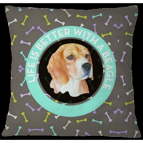 Beagle Pillow Case Cover - White