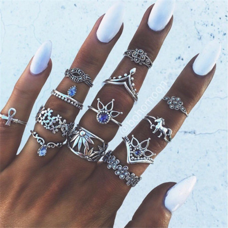 Vintage Knuckle Rings Geometric Crystal Flower Shape