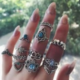Vintage Knuckle Rings Geometric Crystal Flower Shape