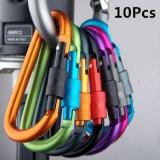 10pcs Outdoor Camping Hiking Aluminum Keyring Carabines D-Ring Key Chain Clip