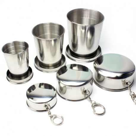 Camping Stainless Steel Collapsible Cup Travel Portable Folding Cup With Key Chain