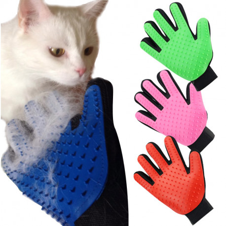 Pet Grooming Glove - Gentle Deshedding Brush Glove - Efficient Pet Hair Remover Mitt with Enhanced Five Finger Design - Perfect for Dogs Cats Horses with Long & Short Fur