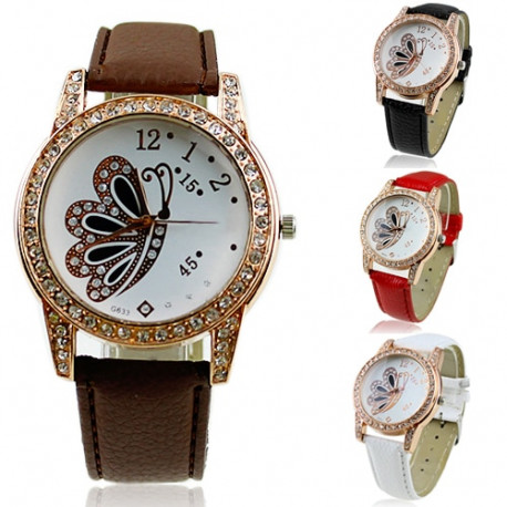 Stylish  Butterfly Pattern Rhinestone Analog Quartz Watch