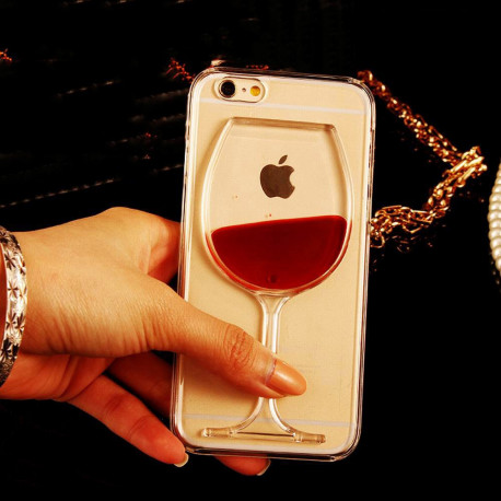 Wine Liquid Quicksand Transparent Case For iPhone