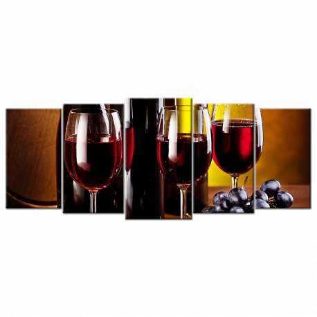 3 Red Wine Glasses & Bottles- 5 panels