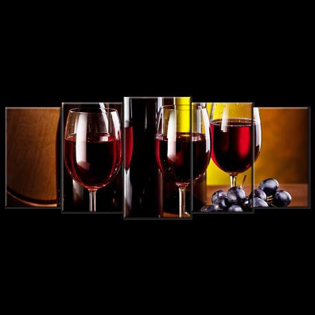 3 Red Wine Glasses & Bottles- 5 panels