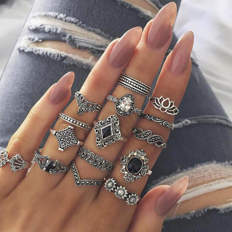 15Pcs Set Fashion Vintage Ring Set Femme Stone Silver Midi Finger Rings