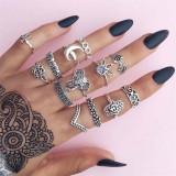 15Pcs Set Fashion Vintage Ring Set Femme Stone Silver Midi Finger Rings
