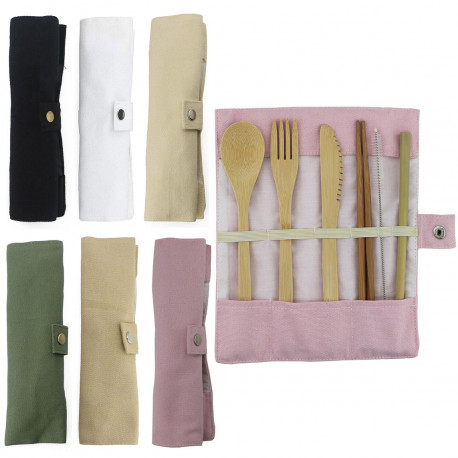 Bamboo Utensils Wooden Travel Cutlery Set Reusable Utensils With Pouch Camping Zero Waste Fork Spoon Knife Flatware Set