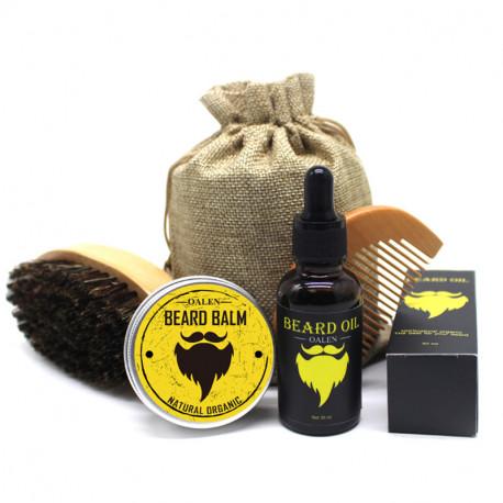 5Ppc Set Men Moustache Cream Beard Oil Kit with Moustache Comb/ Brush Storage Bag