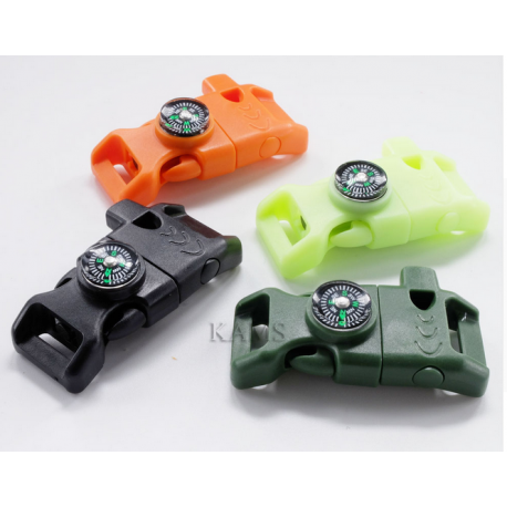 Fire Starter Compass Whistle Buckle Emergency Survival for Paracord Bracelet Outdoor Activity