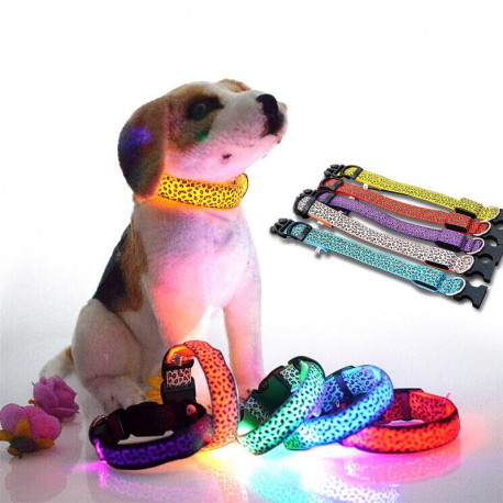 Glowing Adjustable Cat or Dog Collar Leopard Print