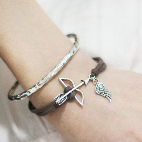 Handmade Suede Velvet Bracelets Antique silver color & silver color Coffee Bow And Arrow Wing Hollow