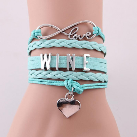 Infinity Love WINE Bracelet with Heart Charm