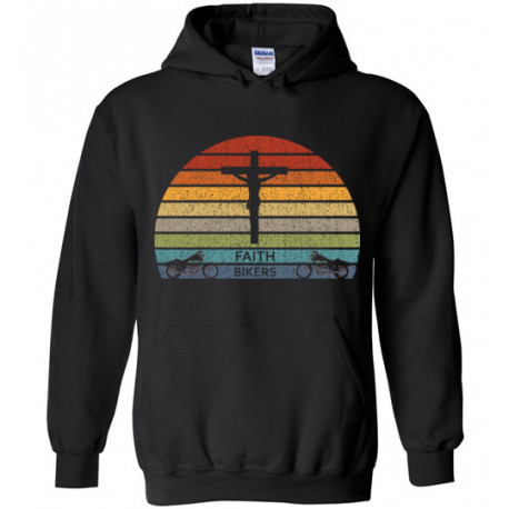 Faith Bikers Retro Sun and Cross Design Unisex Hoodie