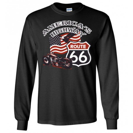 (ON SALE!) Route 66 - America's Highway Bald Eagle, Flag, Motorcycle Long Sleeve T-Shirt