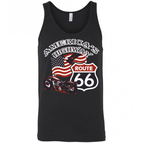 (ON SALE!) Route 66 - America's Highway Bald Eagle, Flag, Motorcycle Unisex Tank Top
