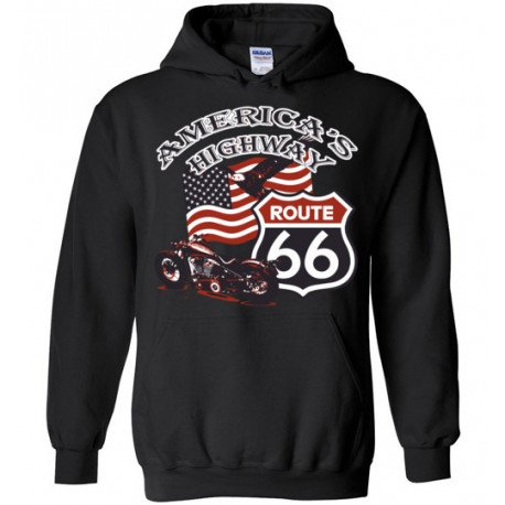 (ON SALE!) Route 66 - America's Highway Bald Eagle, Flag, Motorcycle Hoodie