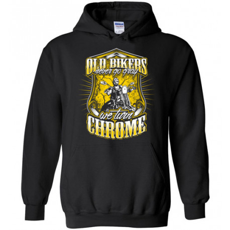 Old Bikers Never turn Gray! We Turn Chrome! Yellow Design Pull-over Hoodie