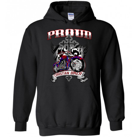 Proud Christian Biker Pull-over Hoodie