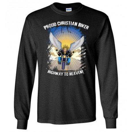 Proud Christian Biker Highway to Heaven Artwork Long Sleeve T-Shirt