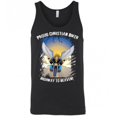 Proud Christian Biker Highway to Heaven Artwork Tank Top (Unisex)