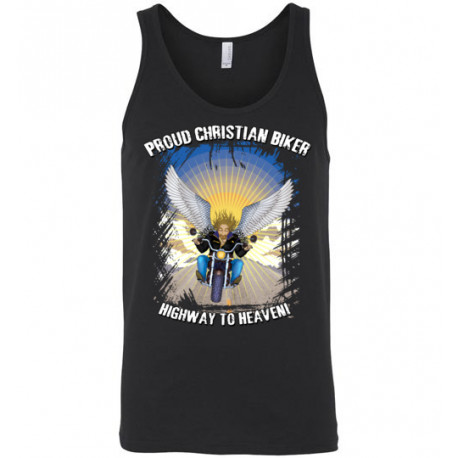 Proud Christian Biker Highway to Heaven Artwork Tank Top (Unisex)