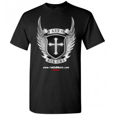 (SALE!) FaithBikers.com Shield and Wings Branded Logo T-Shirt (Unisex)