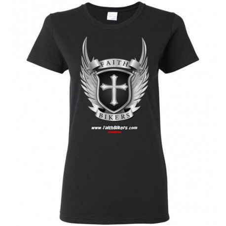 (SALE!) FaithBikers.com Shield and Wings Branded Logo Women's T-Shirt