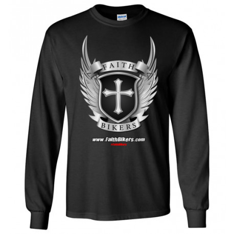 (SALE!) FaithBikers.com Shield and Wings Branded Logo Long Sleeve T-Shirt